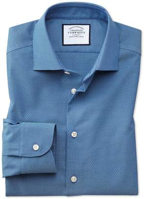 Charles Tyrwhitt Slim Fit Business Casual Non-Iron Blue and Teal Dash Dobby Cotton Dress Shirt Single Cuff Size 15.5/32
