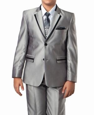 Tazio Solid Texture With Black Satin Trim 2 Button Front Closure Boys Suit, 4 Piece