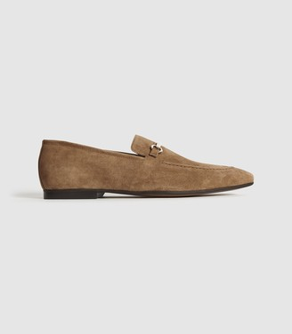 Reiss NELSON SUEDE HORSEBIT LOAFER Tobacco