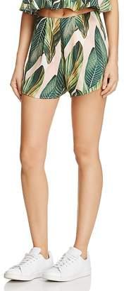 Show Me Your MuMu Palm Print Sawyer Shorts $96 thestylecure.com