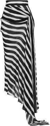 Maticevski Aquarius Asymmetric Striped Chiffon Skirt Size: 12