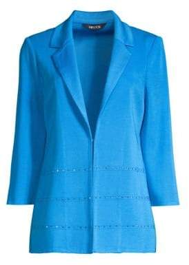 Misook Women's Stud Detail Blazer - China Blue - Size Small