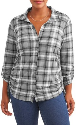 No Comment Plus Size Knit Plaid Cinched Shirt
