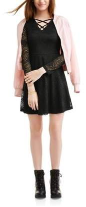 Liberty Love Juniors' All Over Lace Caged Long Sleeve Skater Dress