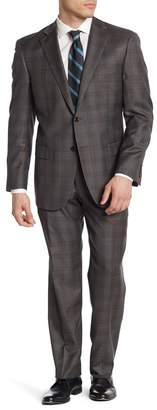 Hart Schaffner Marx Gray Plaid Two Button Notch Lapel Worsted Wool Suit