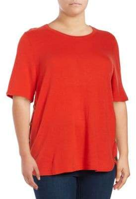 Lord & Taylor Plus Pullover Elbow-Length Sleeve Top