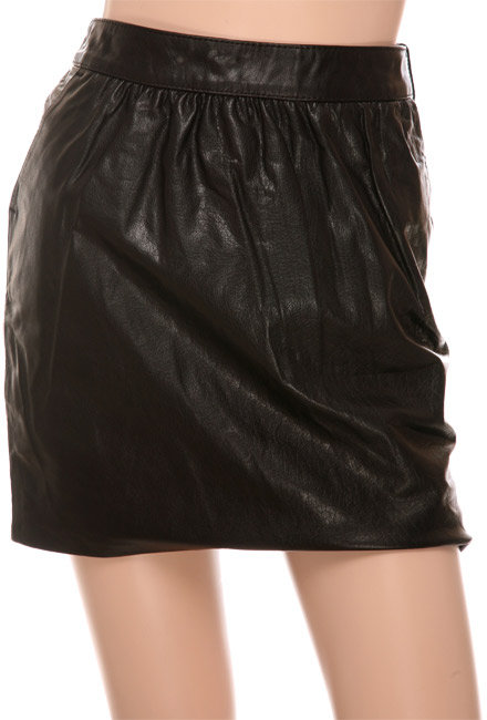Thomas Burberry Brenchley Black Leather Skirt