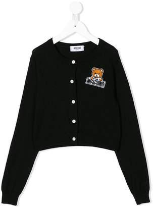 Moschino Kids TEEN logo patch cardigan
