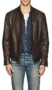 John Varvatos Men's Leather Racer Jacket - Dk. brown