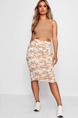 boohoo Plus Camo Midi Skirt