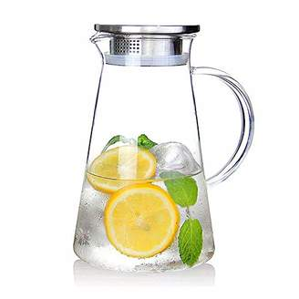 Suteas 2.0 Liter 68 Ounces Gallon jug hot Cold Water ice Tea Wine Coffee Milk and Juice Beverage Ca Glass Pitcher with lid Covered