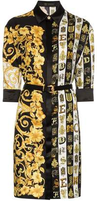 Versace printed belted silk shirt dress