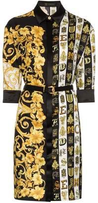 Versace Baroque print belted silk shirt dress