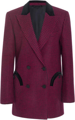 Blazé Milano Fair And Square Checked Double Breasted Wool Blazer