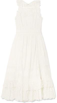 Ulla Johnson Willow Ruffled Broderie Anglaise Cotton Midi Dress - White