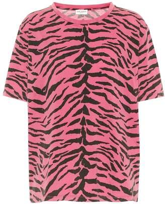 76c200b888 Saint Laurent Zebra-printed cotton T-shirt