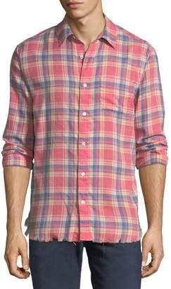 Frame Frayed Flannel Long-Sleeve Shirt, Dark Pink