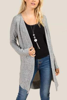 francesca's Jody Rounded Hem Cardigan - Heather Gray