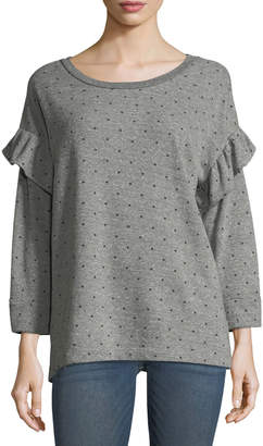 Current/Elliott The Ruffle Star-Print Heathered Sweatshirt