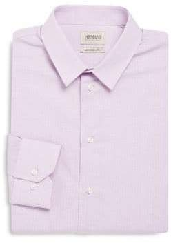 Armani Collezioni Modern Fit Checked Cotton Dress Shirt