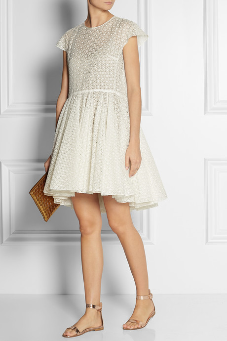 Broderie anglaise cotton and silk-blend dress