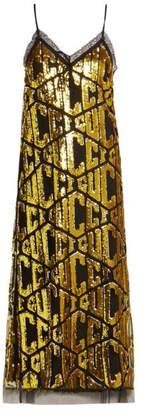 Gucci Sequin Embellished Logo Dress - Womens - Black