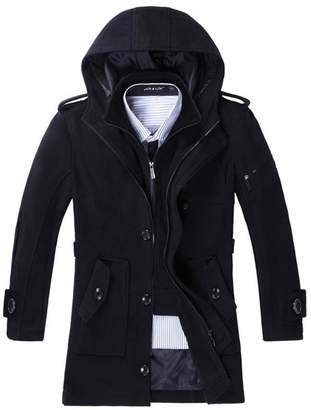 Blend of America Chickle Men's Winter Hooded Single Breasted Wool Pea Coat L