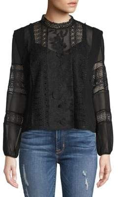 Joie Embroidered Lace-Trimmed Blouse