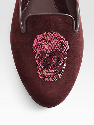 Alexander McQueen Search Results, Suede Sequin-Coated Skull Smoking Slippers