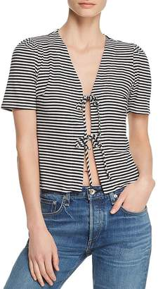 Honey Punch Striped Tie-Front Tee