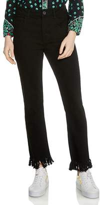 Maje Panako Skinny Frayed-Hem Ankle Jeans in Black