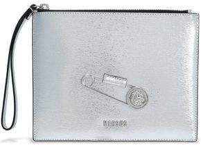 Versace Embellished Metallic Textured-Leather Pouch