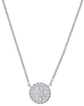 Effy Diamond and 14K White Gold Medallion Pendant Necklace