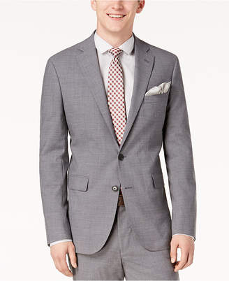 Cole Haan Men's Grand. os Wearable Technology Slim-Fit Stretch Light Gray Solid Suit Jacket