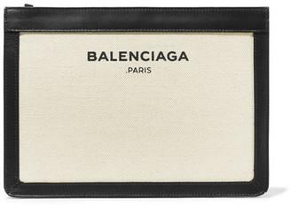 Balenciaga - Leather-trimmed Canvas Clutch - Ecru $815 thestylecure.com