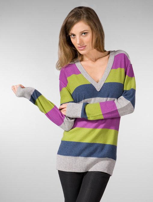 Seaton Boyfriend V-Neck Sweater in Multi Stripe