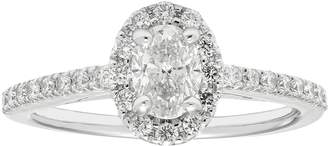 Boston Bay Diamonds 14k White Gold 3/4 Carat T.W. IGL Certified Diamond Oval Halo Engagement Ring