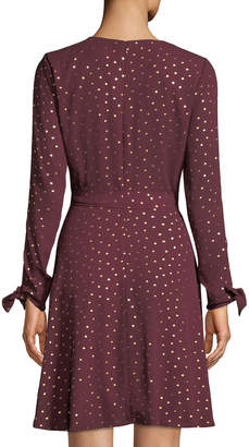 Laundry by Shelli Segal Keyhole-Sleeve Metallic Wrap Dress