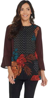 Bob Mackie Bob Mackie's Autumn Rose Woven Button Front Top