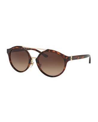 Tory Burch Gradient Round Double-Bridge Sunglasses, Brown Havana