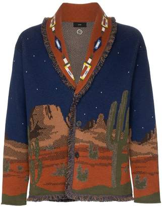 Alanui midnight landscape knitted cashmere cardigan