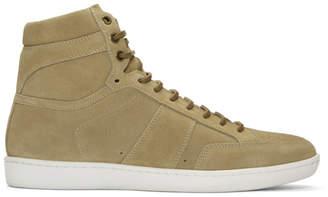 Saint Laurent Beige Suede SL/10 High-Top Sneakers