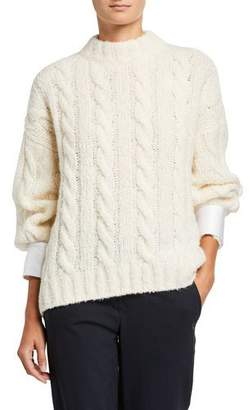 Brunello Cucinelli Cable-Knit Sweater with Removable Satin Cuffs