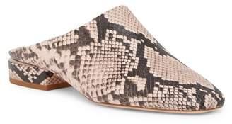 Pour La Victoire Sebina Snake Embossed Leather Slide Flat