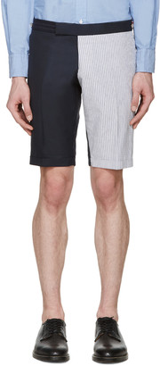 Thom Browne Navy & White Funmix Shorts $980 thestylecure.com