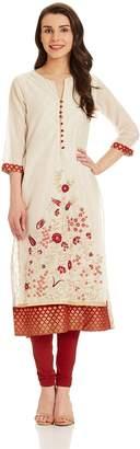 Biba Women's Straight Poly Cotton Kurta