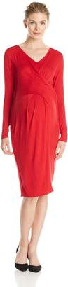 Everly Grey Women's Maternity Sloan Long Sleeve Draped and Nursing Dress