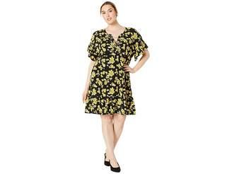 MICHAEL Michael Kors Size Glam Painterly Lace-Up Chain Dress