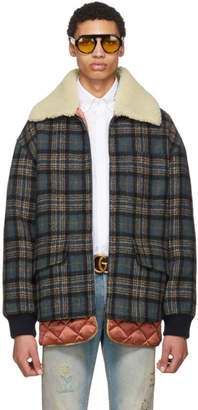Gucci Blue Wool Plaid Jacket
