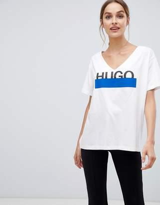 HUGO glitter logo v neck t-shirt